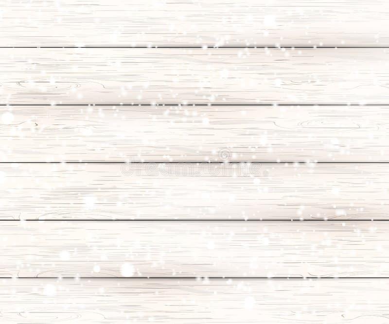 Предпосылка рождества белая деревянная с снегом праздника падая сияющим Взгляд с космосом экземпляра стоковая фотография
