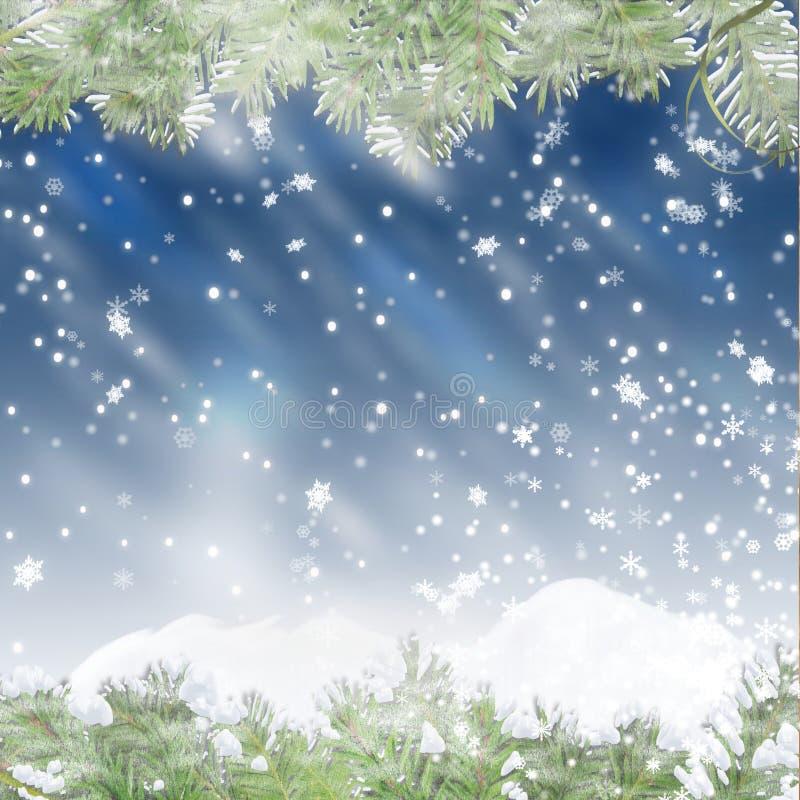 Предпосылка рождества голубая с ветвями сосенки иллюстрация вектора