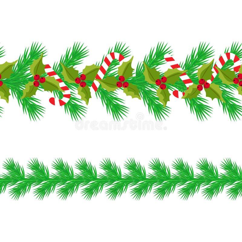 Предпосылка рождества горизонтальная безшовная r безшовная прокладка ветвей ели, конфета, ягода падуба иллюстрация штока