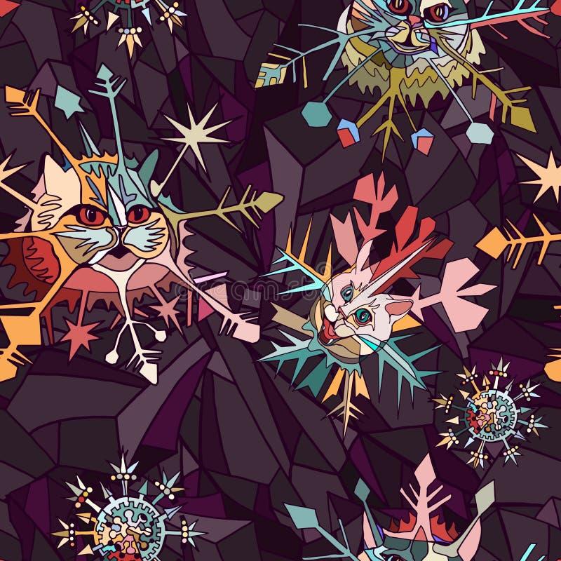 Предпосылка рождества или Нового Года с абстрактными смешными снежинками головы кота иллюстрация штока