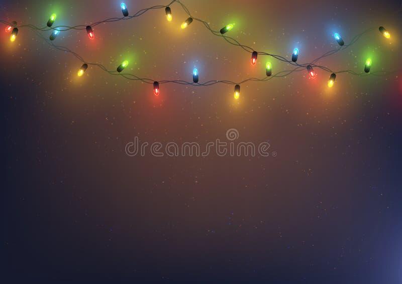 Предпосылка рождества и Нового Года с красочной гирляндой приведенной светов иллюстрация штока