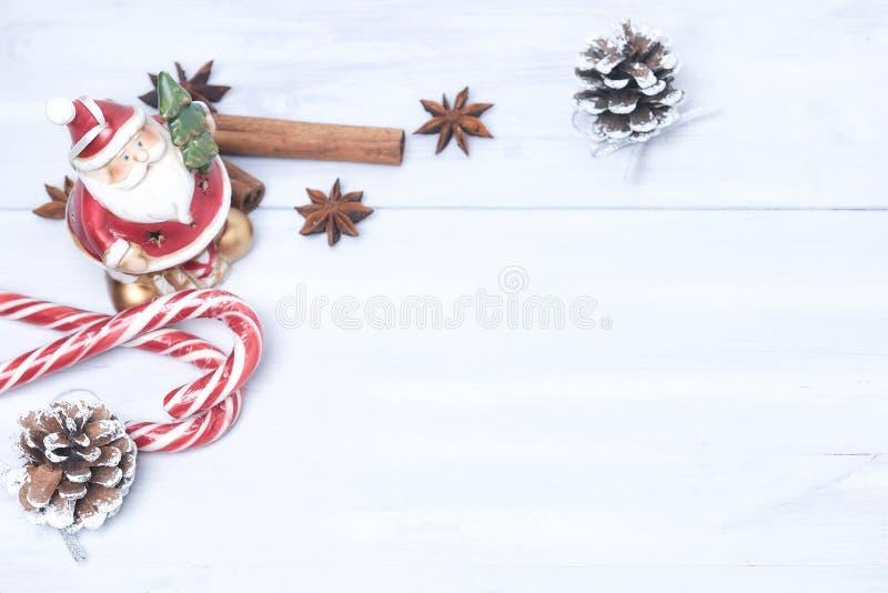 Предпосылка рождества и украшение рождества Украшения рождества, циннамон Украшение рождества для карт тонизированное изображение стоковое изображение