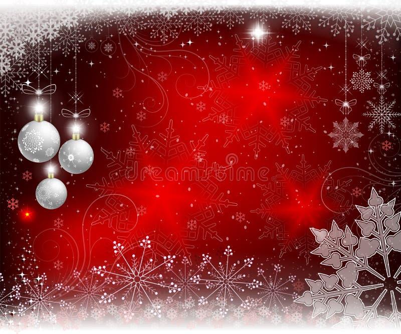 Предпосылка рождества красная с белыми шариками, снежинками и деревом рождества небольшим иллюстрация вектора