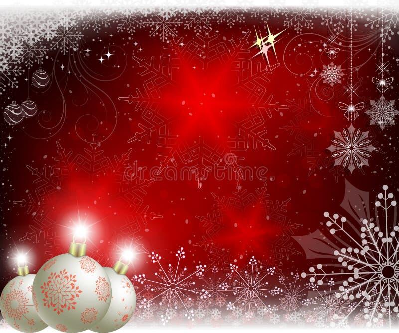 Предпосылка рождества красная с белыми шариками со снежинками и игрушками рождества иллюстрация вектора