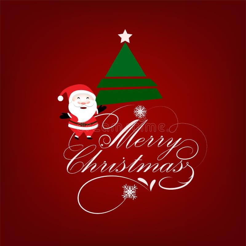 Предпосылка рождества приветствуя с Санта Клаусом и рождественской елкой бесплатная иллюстрация