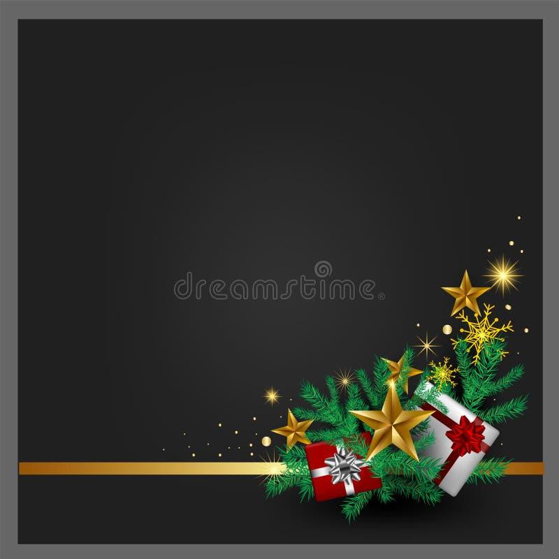 Предпосылка рождества серая, подарочные коробки, золотая звезда, Новый Год рождественской елки лент золота счастливый для желать  иллюстрация штока