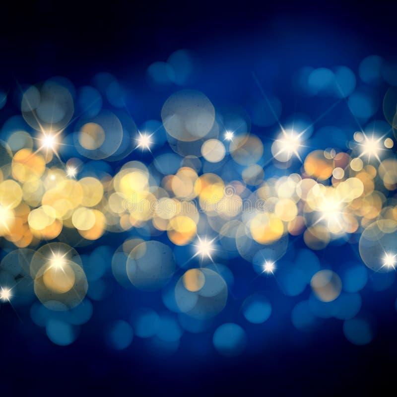 Предпосылка рождества сини и золота со светами и звездами bokeh иллюстрация штока