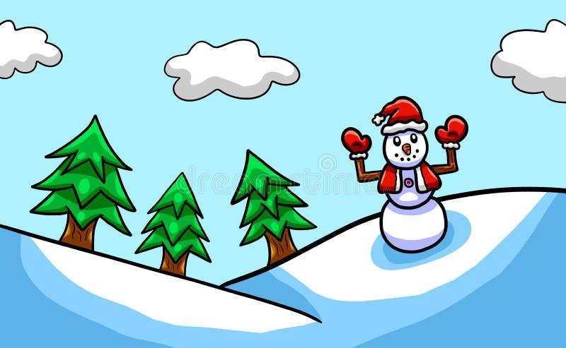 Предпосылка рождества снеговика развевая счастливо бесплатная иллюстрация