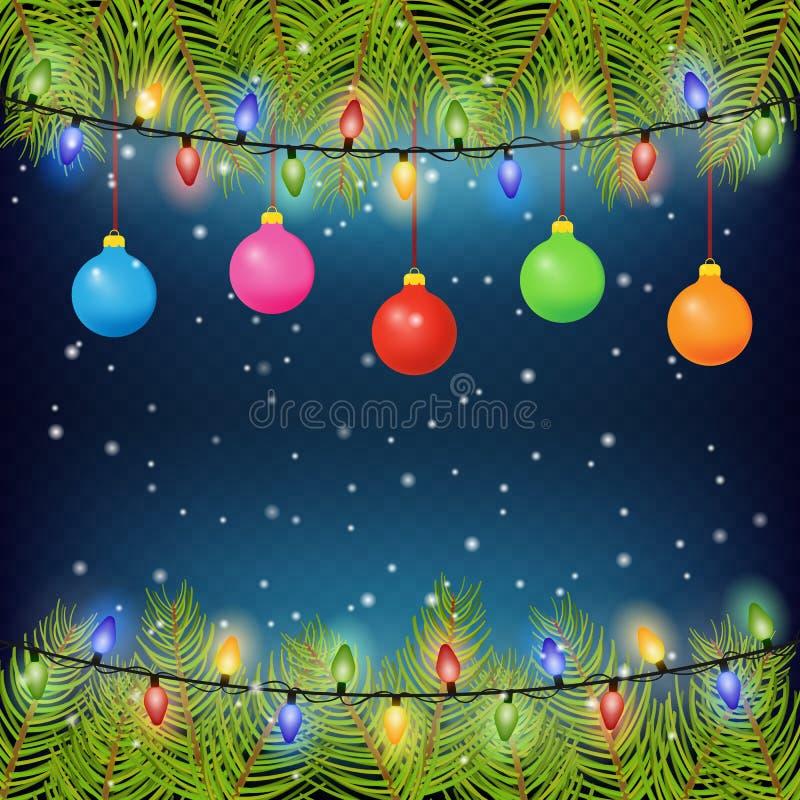 Предпосылка рождества с ветвями ели, шариками цвета, и электрическими лампочками также вектор иллюстрации притяжки corel 10 eps иллюстрация штока
