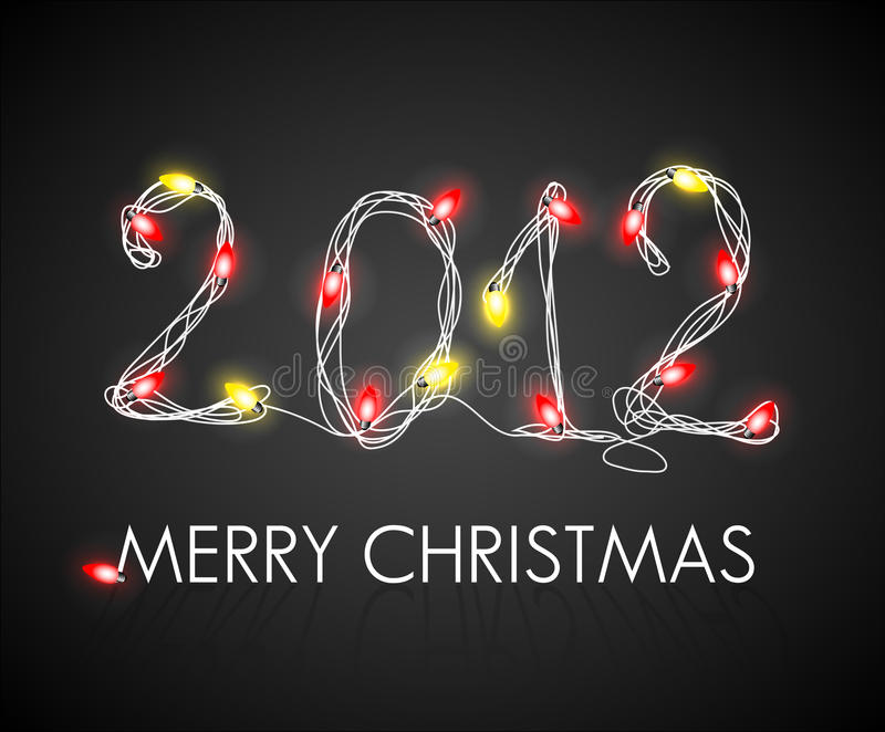 Предпосылка рождества с красным цветом и желтыми светами иллюстрация штока