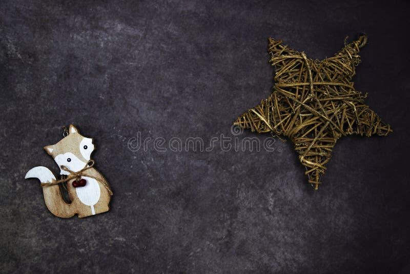 Предпосылка рождества с лисой стоковая фотография