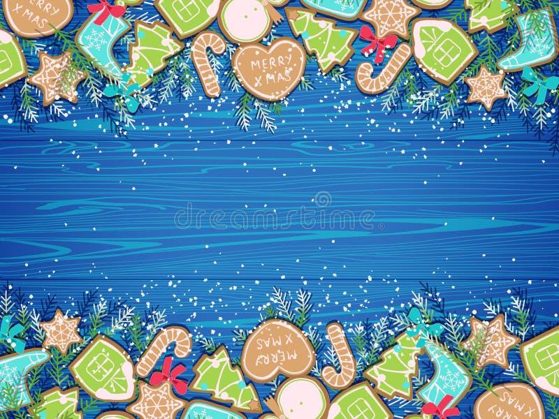 Предпосылка рождества с печеньями пряника иллюстрация штока