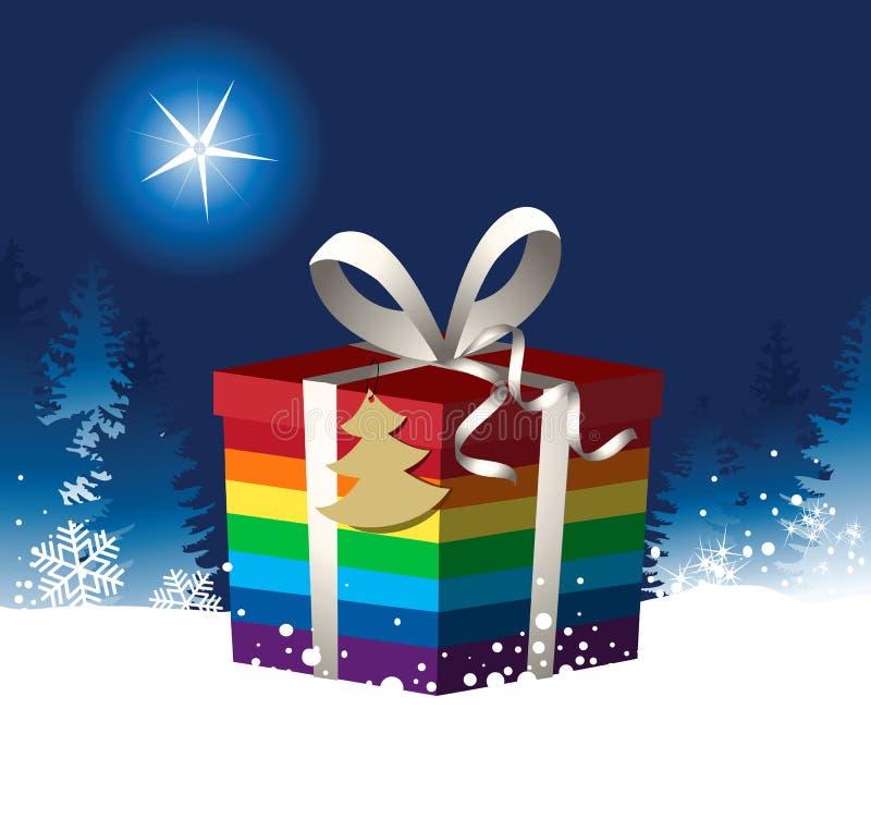 Предпосылка рождества с подарком рождества радуги бесплатная иллюстрация