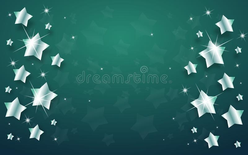 Предпосылка рождества с серебряными звездами иллюстрация штока