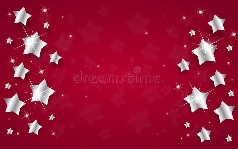 Предпосылка рождества с серебряными звездами иллюстрация вектора