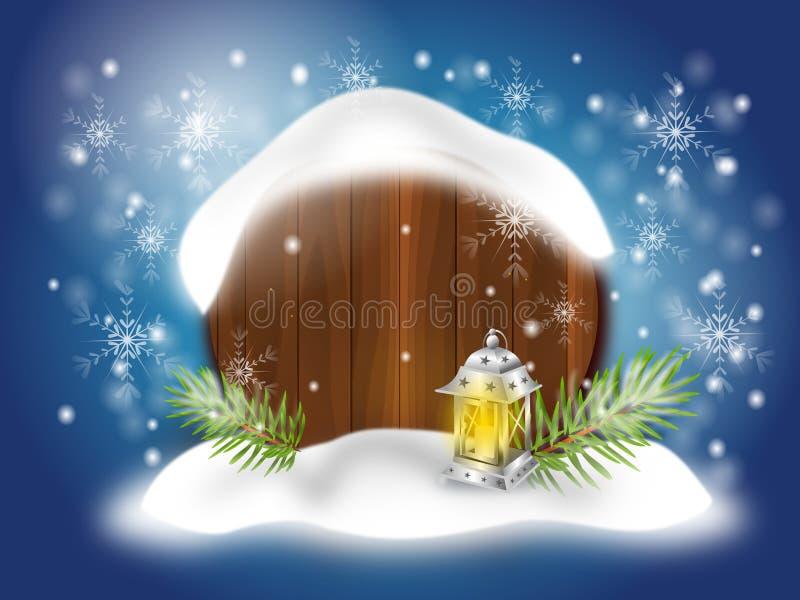 Предпосылка рождества с снежной доской иллюстрация штока