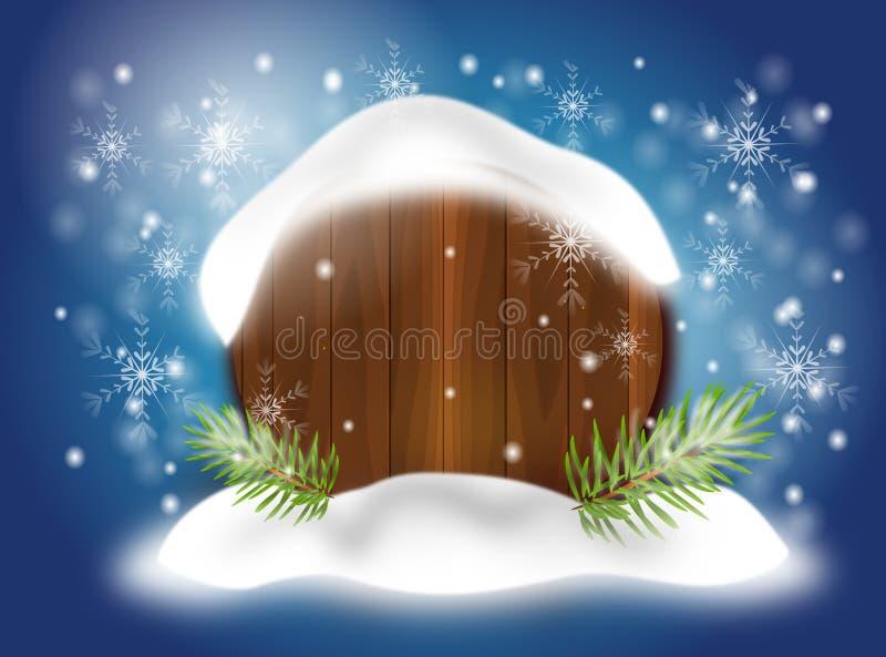 Предпосылка рождества с снежной доской иллюстрация вектора