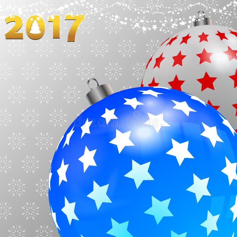 Предпосылка рождества с украшенными безделушками и снежинками иллюстрация вектора