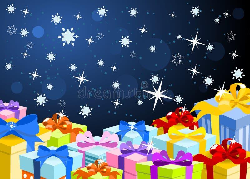 Предпосылка рождества с цветастыми подарками иллюстрация штока