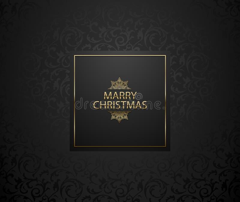 Предпосылка рождества с черным цветочным узором Элегантная бирка наградного праздника Золотой текст и снежинка веселого рождества бесплатная иллюстрация