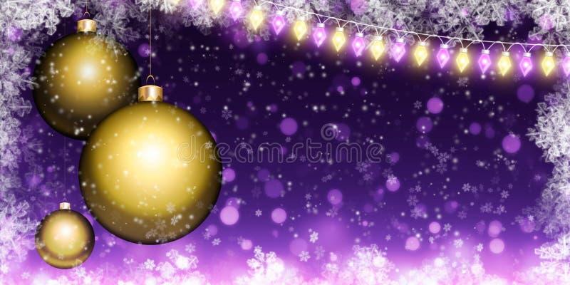 Предпосылка рождества с шариками и гирляндой стоковое изображение rf