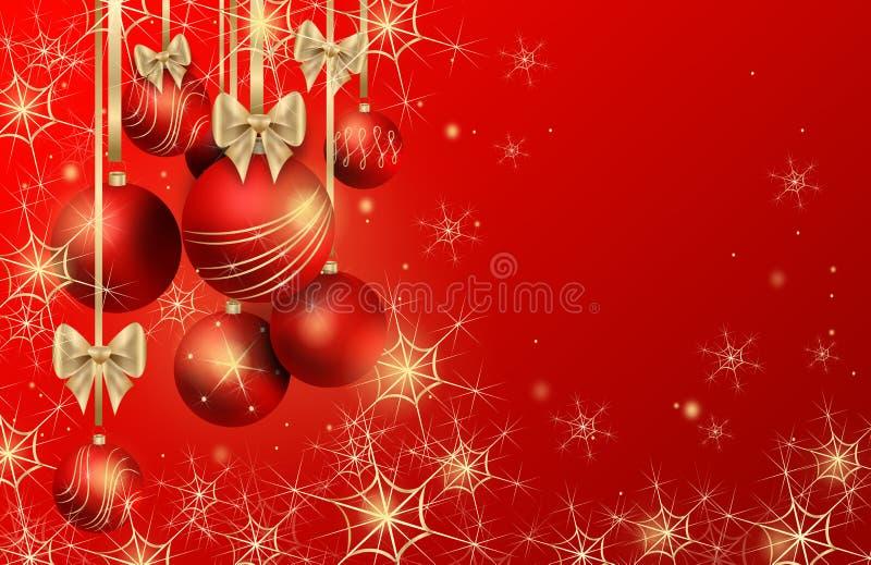 Предпосылка рождества с шариками рождества иллюстрация штока