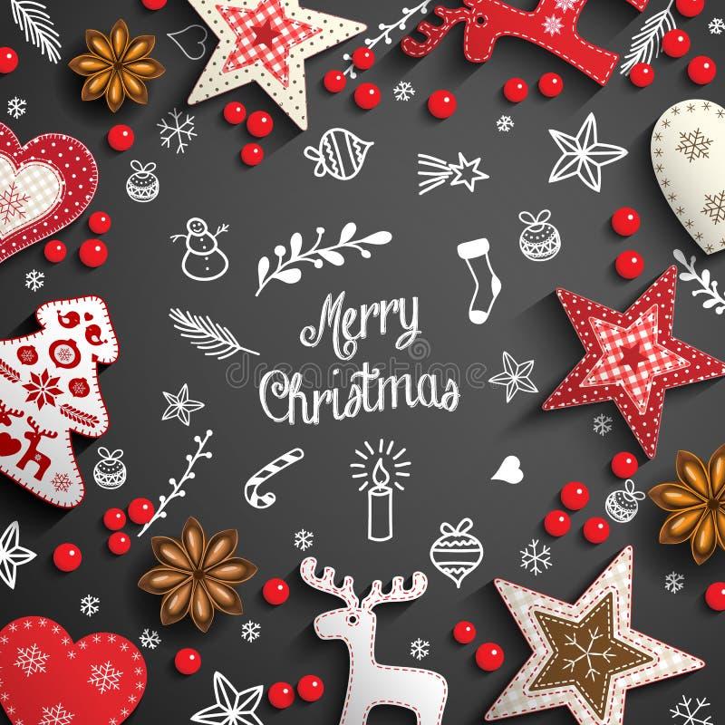 Предпосылка рождества с doodles и украшениями белизны бесплатная иллюстрация