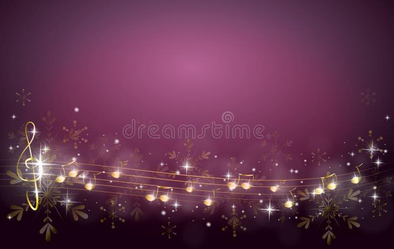 Предпосылка рождества украшенная с примечаниями музыки иллюстрация вектора