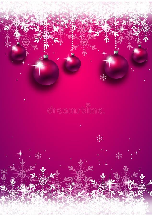 Предпосылка рождества украшенная с шариками рождества иллюстрация вектора