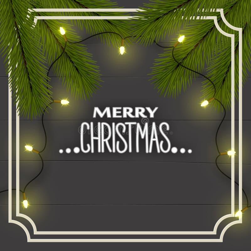 Предпосылка рождества ` s Нового Года, взгляд сверху Ветви рождественской елки, освещение освещают гирлянду на досках в рамке бесплатная иллюстрация