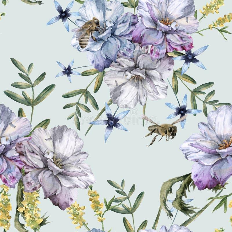 Предпосылка роз с wildflowers и пчелами картина безшовная иллюстрация вектора