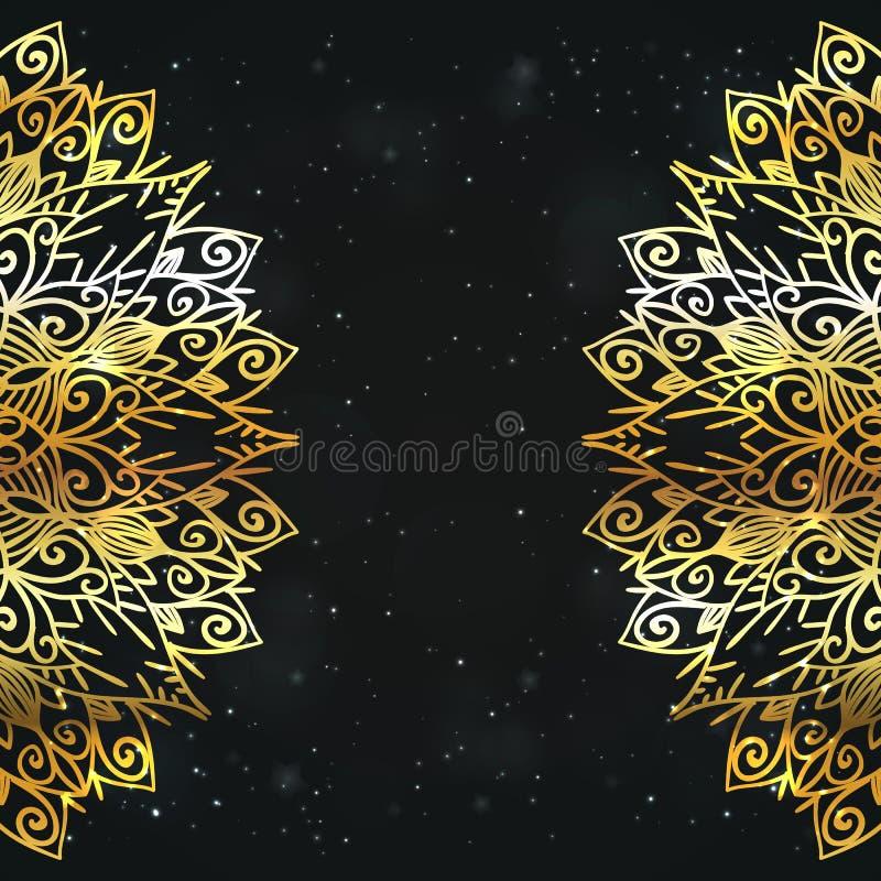 Предпосылка роскоши вектора Дизайн приглашения праздника Королевский винтажный шаблон поздравительной открытки со шнурком золота  бесплатная иллюстрация