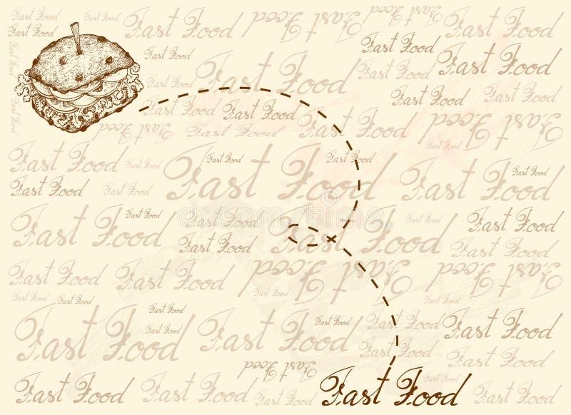 Предпосылка руки вычерченная всего сэндвича хлеба зерна иллюстрация вектора