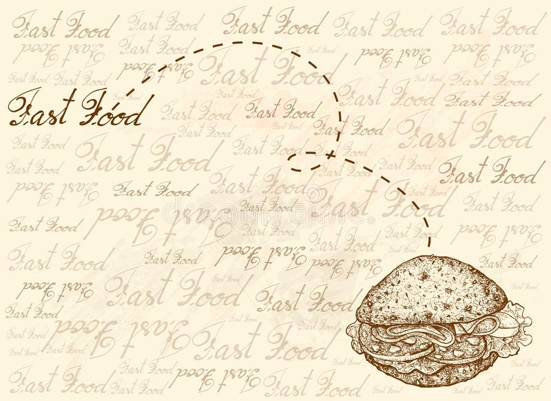 Предпосылка руки вычерченная всего сэндвича хлеба зерна бесплатная иллюстрация