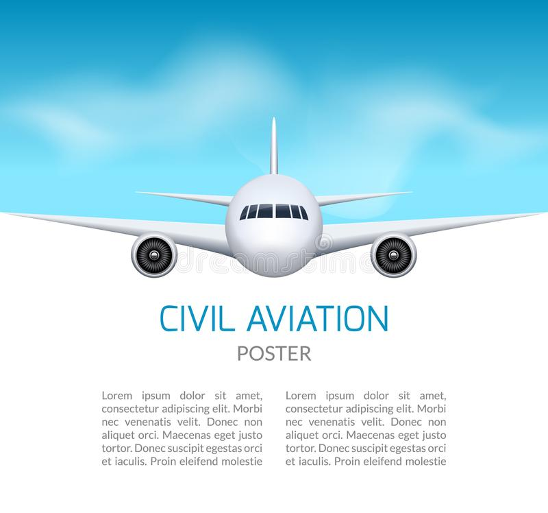 Предпосылка самолета Коммерчески концепция перемещения авиалайнера Выстрогайте в голубом небе, дизайне авиалайнера гражданской ав иллюстрация штока