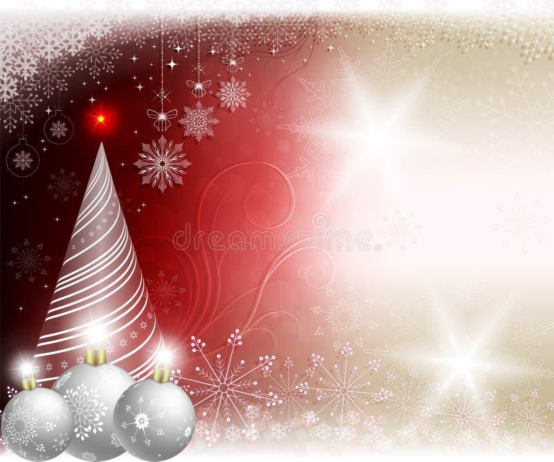 Предпосылка света рождества красная с белыми шариками и рождественской елкой бесплатная иллюстрация