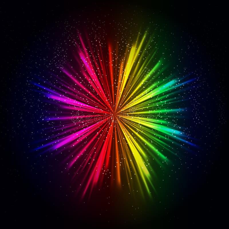 Предпосылка световых лучей радуги, абстрактный красочный взрыв иллюстрация вектора