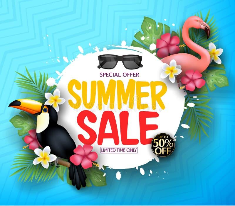 Предпосылка сделанная по образцу синью с ограниченным сообщением продажи лета предложения вместе с реалистическим фламинго иллюстрация вектора
