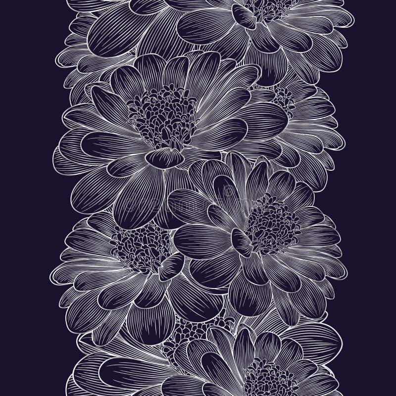 Предпосылка серебряного безшовного рук-чертежа флористическая с стоцветом цветка стоковые изображения
