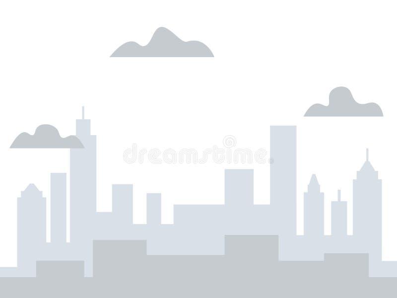 Предпосылка серого цвета, взгляд города Здания высокорослы r иллюстрация штока