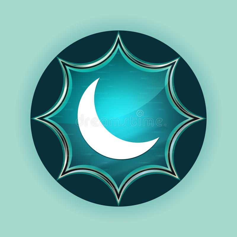 Предпосылка серповидной кнопки значка полумесяца волшебной стекловидной sunburst голубой небесно-голубая иллюстрация штока