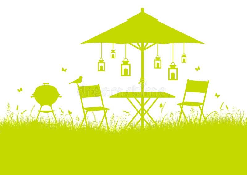 Предпосылка силуэта барбекю сада лета горизонтальная салатовая иллюстрация штока