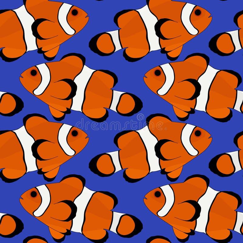 Предпосылка сини вектора иллюстрации рыб клоуна безшовная бесплатная иллюстрация
