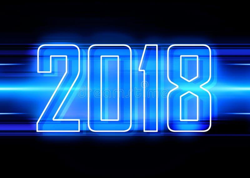 предпосылка 2018 син иллюстрация вектора