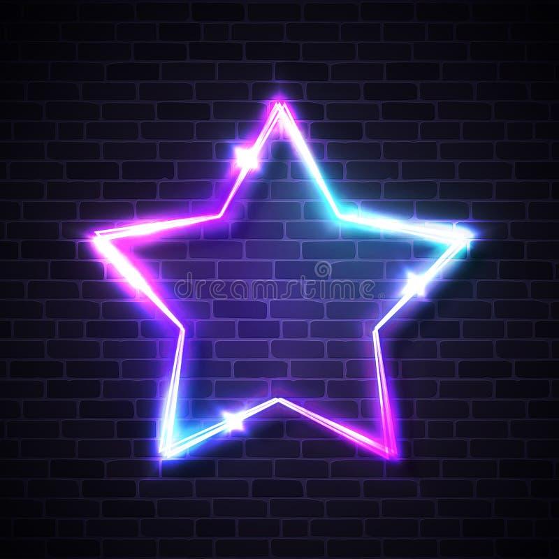 Предпосылка сияющей звезды форменная неоновая на кирпичной стене бесплатная иллюстрация