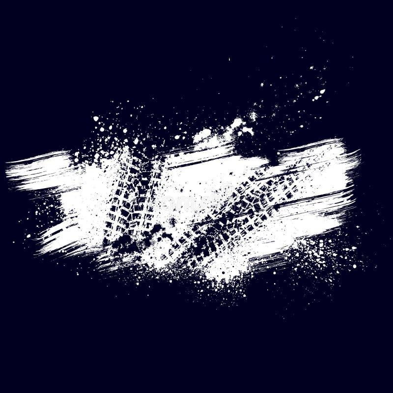 Предпосылка следа автошины Grunge голубая иллюстрация вектора