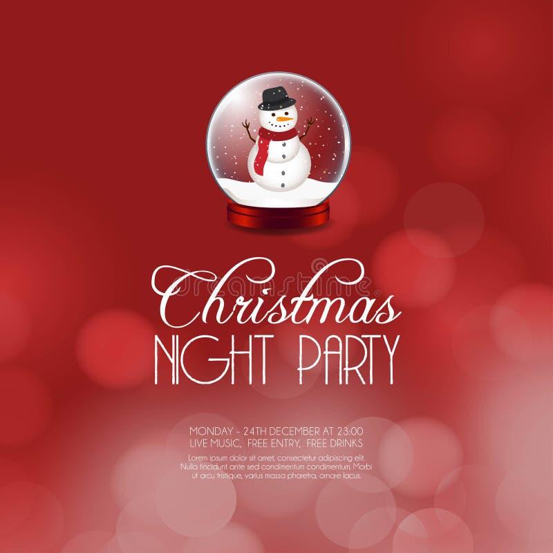 Предпосылка снеговика партии ночи рождества бесплатная иллюстрация