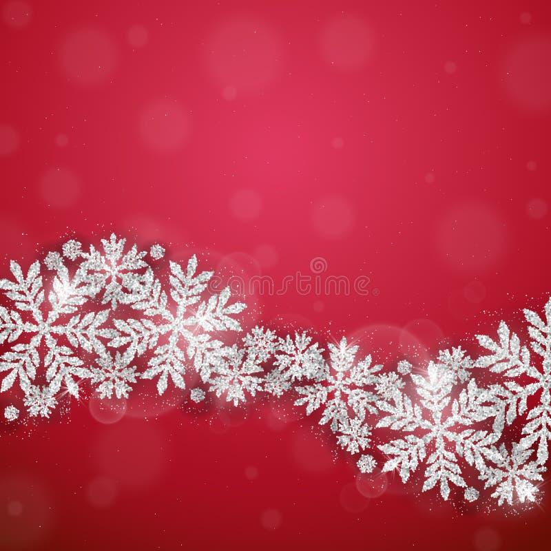 Предпосылка снежинок рождества серебряная блестящая бесплатная иллюстрация