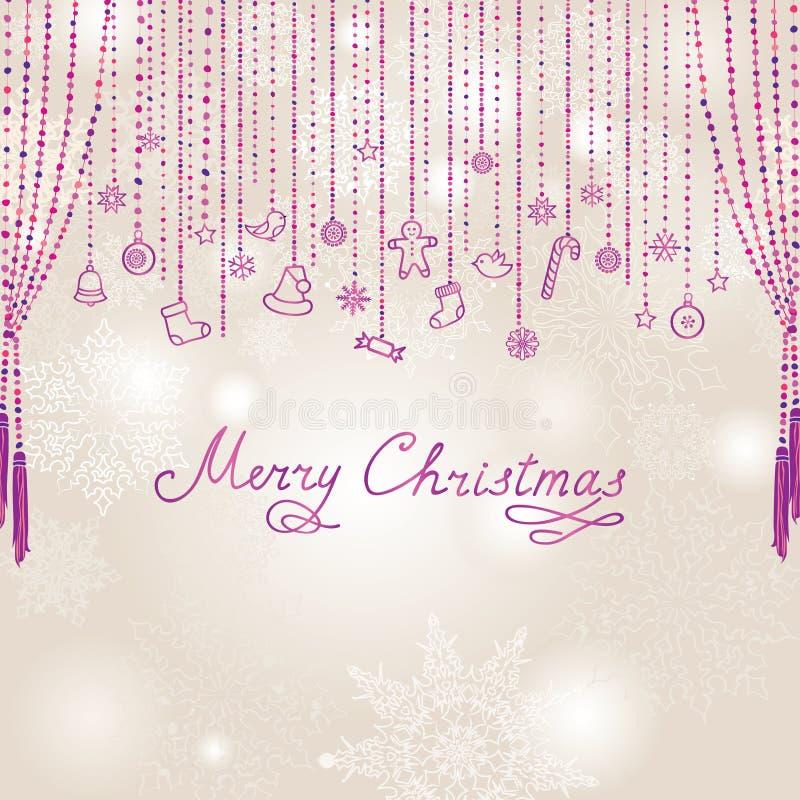 Предпосылка снежностей рождества с рукописной литерностью Greeti бесплатная иллюстрация