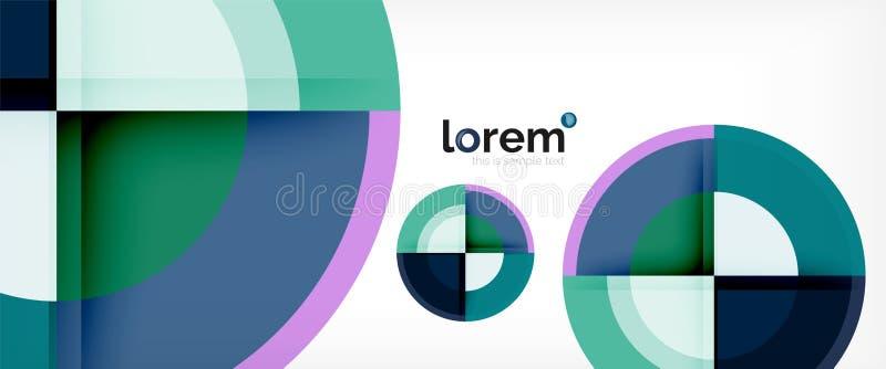 Предпосылка современных геометрических кругов абстрактная, красочные округлые формы с влияниями тени иллюстрация вектора